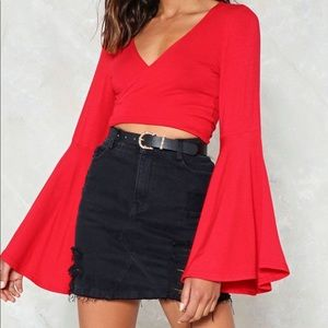 Nasty Gal Out of Step Crop Top in Red